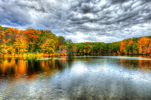 park autumn trees lake fall water colors leaves connecticut newengland ct foliage hdr