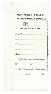 Much Wenlock & Severn Junction Railway Blank share certificate counterfoil undated | by ian.dinmore