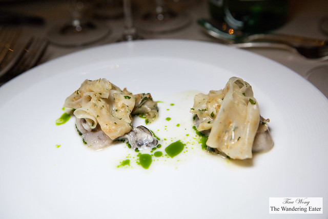 Oysters and seasonal vegetables in poached whey sauce