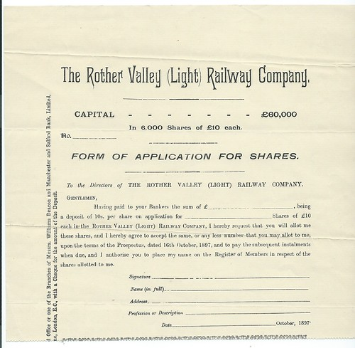 Rother Valley (light) Railway blank application for shares 1897 | by ian.dinmore