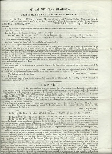 Great Western Railway Ninth half Yearly Meeting Report 1840 | by ian.dinmore