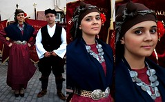 Greece, Macedonia,  youths in traditional greek costumes before a dance in  Sitaria village