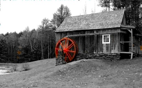 trees red building mill monochrome rural landscape vermont country colorsplash