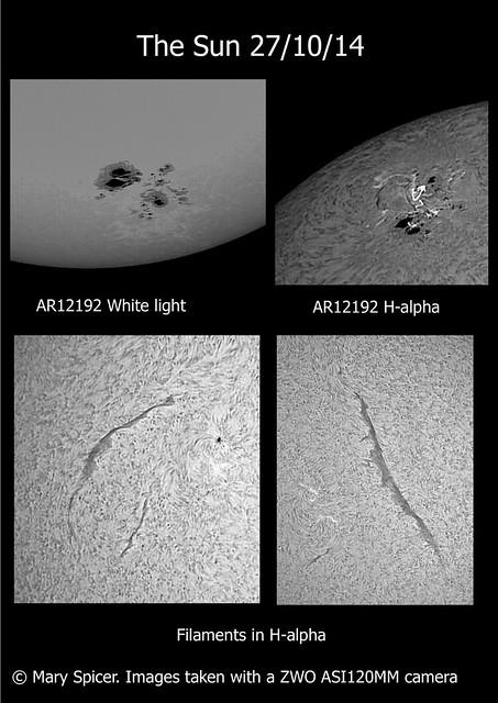 Sun in white light & H-alpha (ASI120MM) 27/10/14