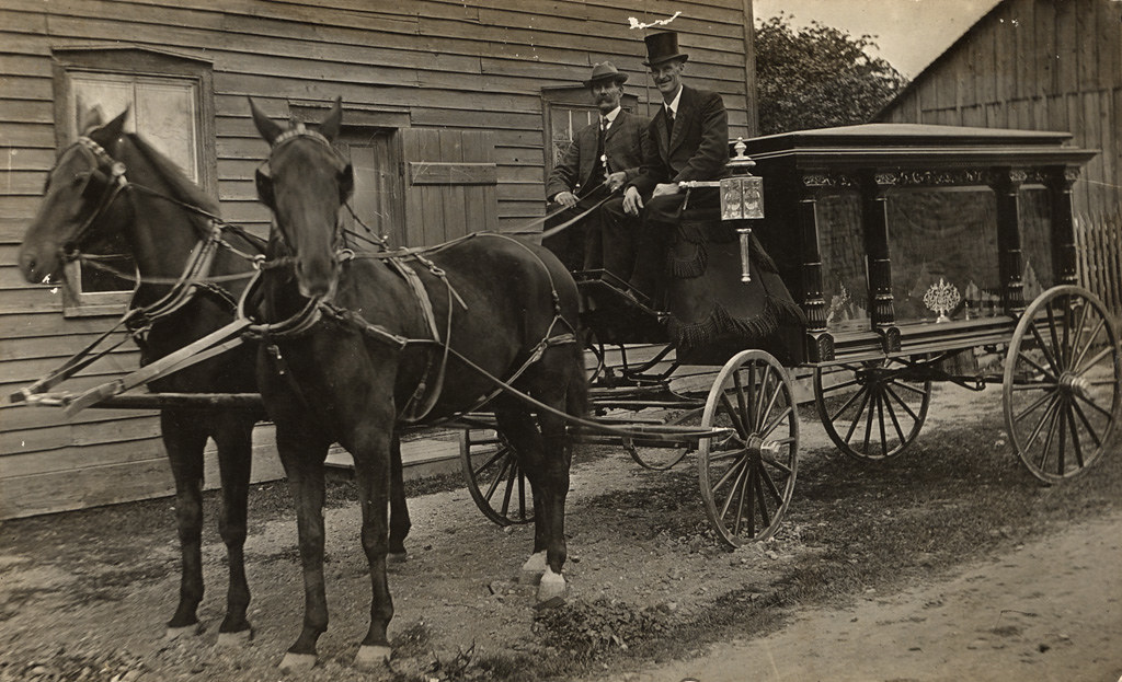 Horse-drawn hearse, late 1880s