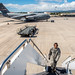 Then Tech. Sgt. Alfred Van Gieson, now Master Sgt., climbs the mobile steps leading to a C-135 waiting to transfer cargo at the 48th Aerial Port Squadron, 624th Regional Support Group, Joint Base Pearl Harbor-Hickam, Oahu, Hawaii, Aug 13, 2016. Van Gieson, an Air Force reservist, is a veteran of Operation Iraqi Freedom, a world champion outrigger, or Va'a, paddler and the coach at the Leeward Kai Canoe Club in Nanakuli, Oahu, which was founded by his grandparents. (U.S. Air Force photo by J.M. Eddins Jr.)