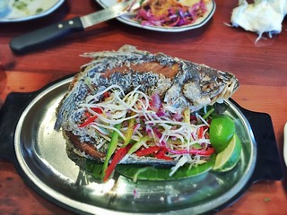 Whole Fried Striped Bass / Tropical Salad / Ají Rojo | by T.Tseng