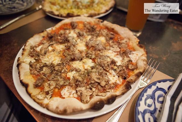 Salsicca topped with Mozzarella, Pork Sausage, Crimini Mushrooms