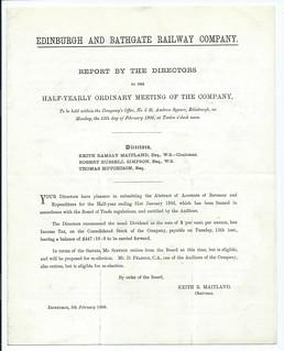 Edinburgh and Bathgate Railway Directors Report 1906 | by ian.dinmore