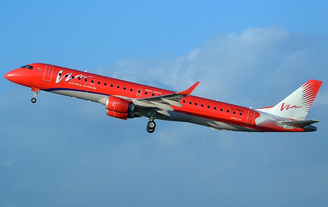 G-FBED VIM Airlines Embraer ERJ-195LR getting airborne from R26 at Exeter Airport for an air test