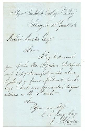 Glasgow, Garnkirk and Coatbridge Railway letterhead 1846 | by ian.dinmore