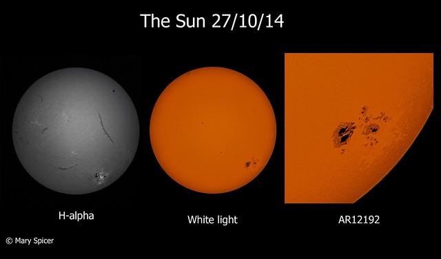 The Sun in H-alpha & White Light (DSLR) 27/10/14