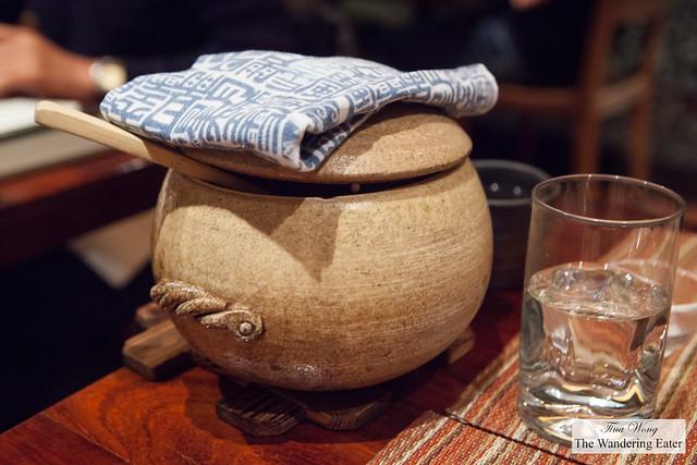 Our clay pot of Maitake mushroom and Jidori Kamadaki rice