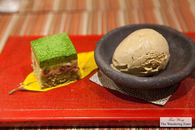 Matcha green tea and red bean bavarois cake and Hojicha tea ice cream