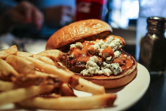 Flamin' Buffalo - Gorgonzola cheese & Inferno hot sauce on brioche bun