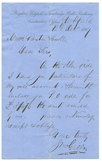 Brighton, Uckfield & Tunbridge Wells Railway letterhead from contractors office 1867   by ian.dinmore