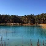 弁天沼その2。光の当たり方で刻々と色を変えていく。青そして緑。原理は、美瑛の青い池と同じ。