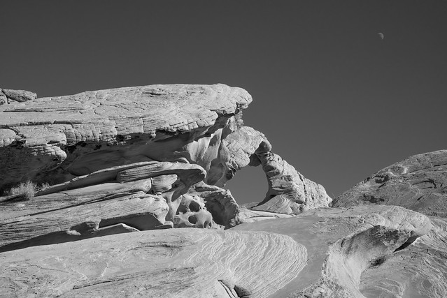 Arch Rock & Moon B&W