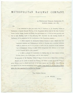 Metropolitan Railway Notice to Treat for the Chesham Branch 1885 | by ian.dinmore
