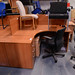 Cherry desk Used L shape comes with ped E185