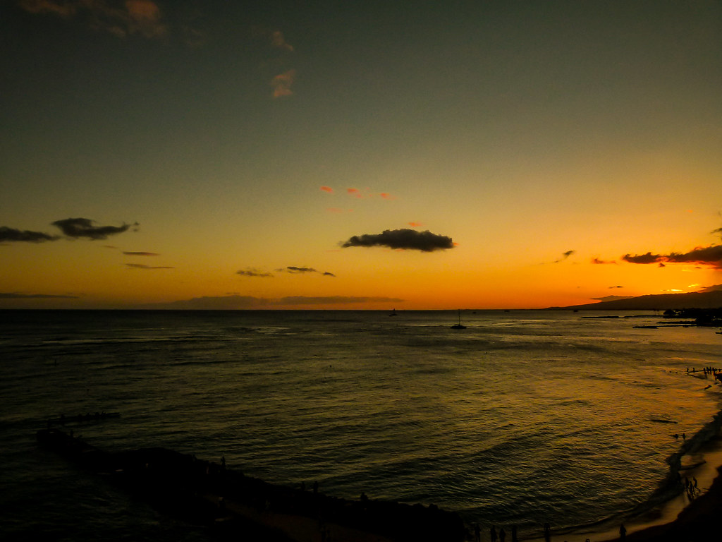 Sunset Over Waikiki Beach Honolulu Watching The Sun Go Do