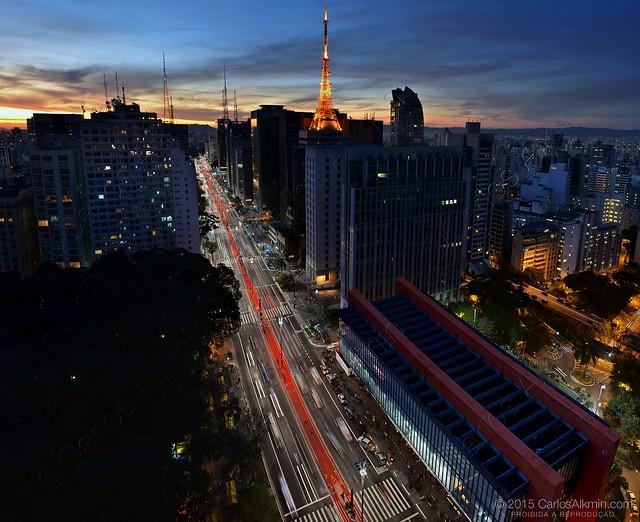 Paulista Avenue at Dusk - view towards Jaragua