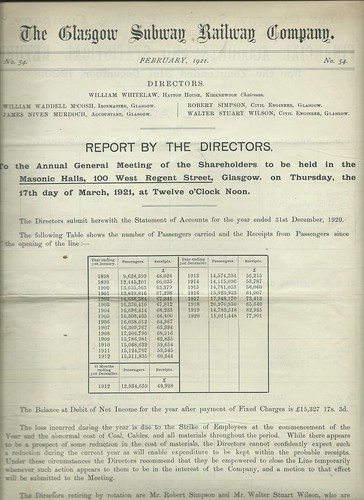 Glasgow Subway Railway Directors Report 1921 | by ian.dinmore