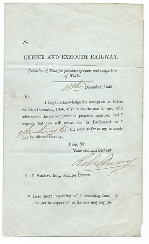 Exeter and Exmouth Railway land purchase notice 1856   by ian.dinmore