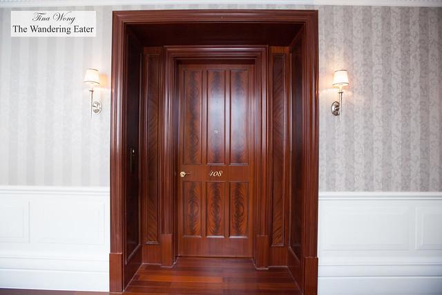 The door to the King Waldorf Suite