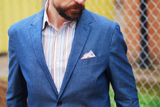 Over 40 menswear: Blue linen blazer | by silverlondoner