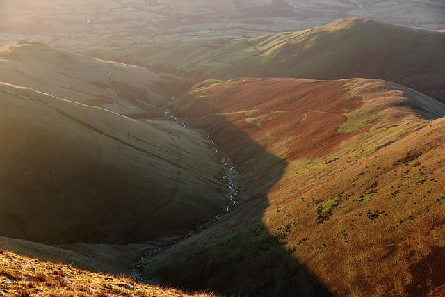Near-sunset view from Calders, Brant Fell, Howgill Fells near Sedbergh, Yorkshire Dales National Park, Cumbria, UK