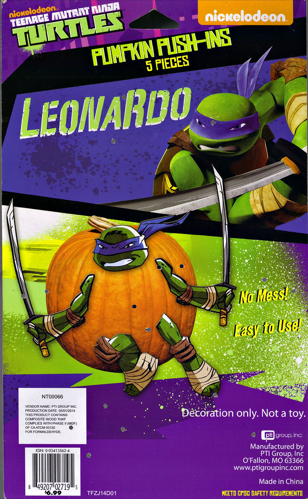 "PTI Group :: Nickelodeon  TEENAGE MUTANT NINJA TURTLES;  ""LEONARDO""  PUMPKIN PUSH-INS / ..card backer  (( 2014 )) by tOkKa"