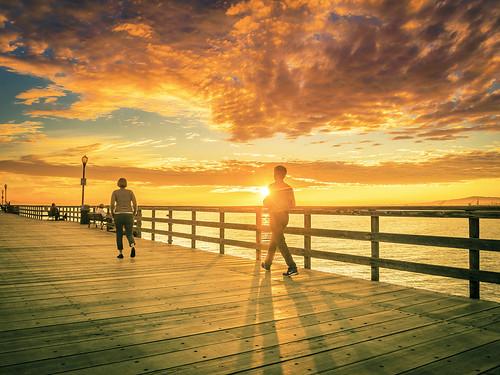 california sunset people sun sunlight silhouette clouds pier cloudy explore orangecounty dashboardconfessional sealbeach onthepier m43 explored mirrorless microfourthirds meeyak olympusepl5