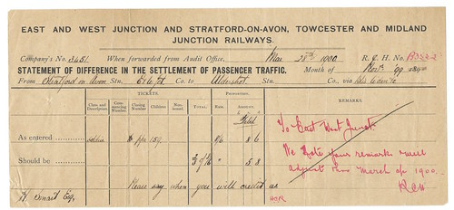 East and West Junction and Stratford-on-Avon, Towcester and Midland Junction Railways Traffic Settlement Notice 1899 | by ian.dinmore