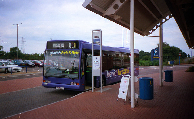 Ipswich Buses R197DDX at Park & Ride July 1999
