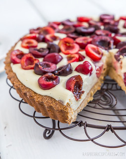 Cherry and Vanilla White Chocolate Tart with a Brown Butter Shell   by raspberri cupcakes