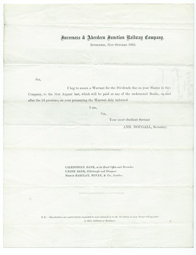 Inverness & Aberdeen Junction Railway Dividend Warrant 1863   by ian.dinmore