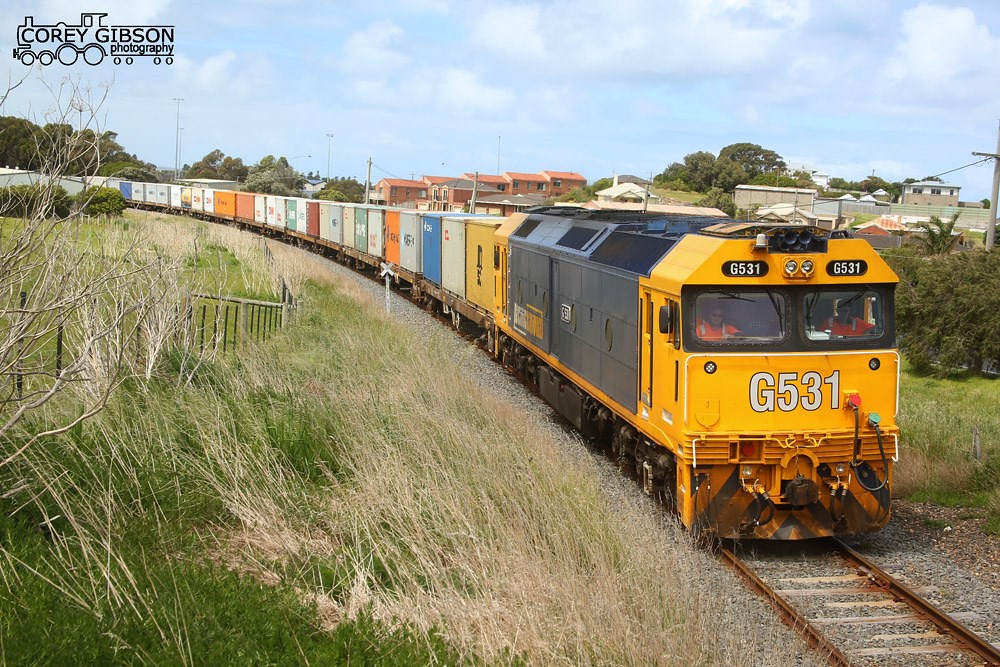 G531 with an afternoon 9203 down Warrnambool freight by Corey Gibson