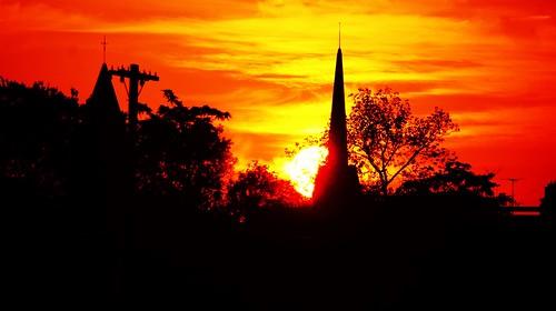 city sunset sun church set skyline meadows hartford hartfordct