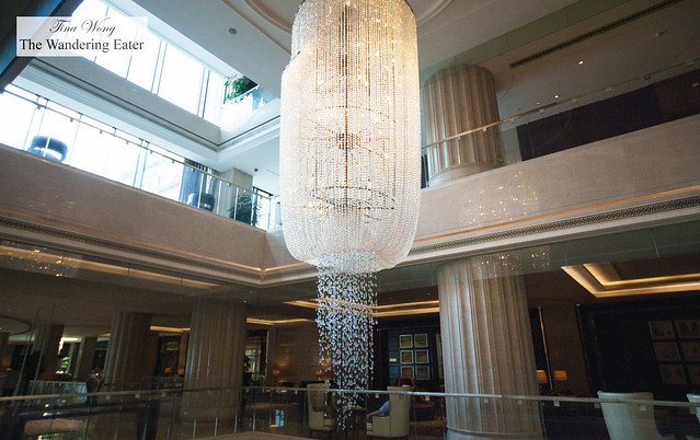 Huge crystal chandelier in the main lobby