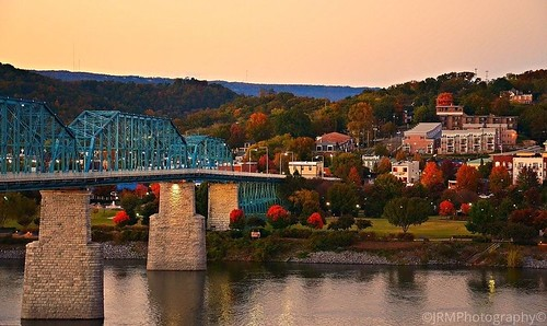 blue autumn sunset red orange white reflection green fall water colors lights evening twilight flickr glow view dusk tennessee fallcolors walnutstreetbridge tennesseeriver lampposts whiteclouds chattanoogatn coolidgepark bluffviewartdistrict salmoncoloredsky