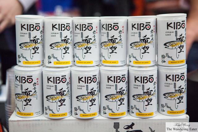 Cans of Kibo Junmai Sake