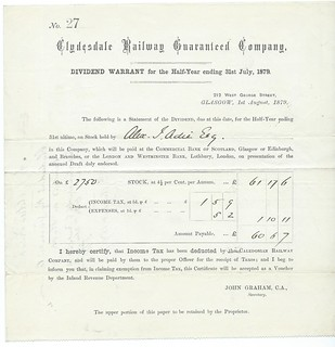 Clydesdale Railway Guaranteed Company Dividend Warrant 1879 | by ian.dinmore