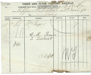 Forth and Clyde Junction Railway Parcels Waybill 1870 | by ian.dinmore
