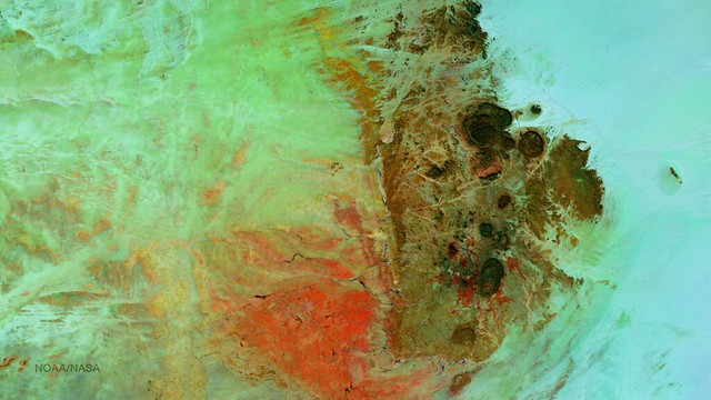 Satellite Imagery of the Aïr Mountains in the Sahara Desert