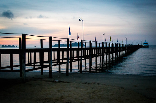 sea water sunrise thailand pier paradise