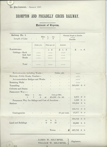 Brompton and Piccadilly Circus Railway Estimate of Expense 1897   by ian.dinmore