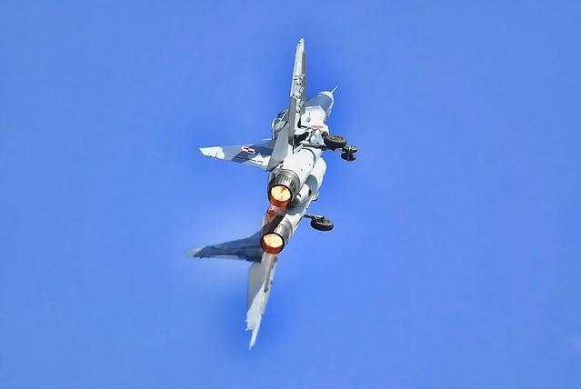 Burners full on, Polish Mikoyan MiG 29 Fulcrum.