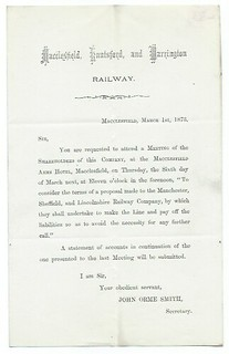 Macclesfield, Knutsford and Warrington Railway letterhead re selling out to the MS&L Rly. 1873 | by ian.dinmore