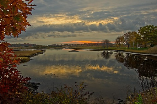 autumn storm clouds sunrise reflections maine wells drakesisland wellsme